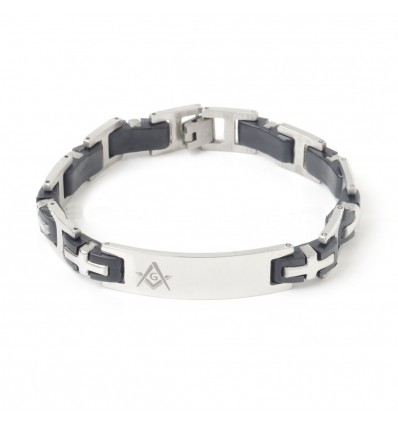 Mens Masonic Bracelet Silver & Black