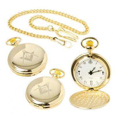 Masonic Quartz Full Hunter Pocket Watch