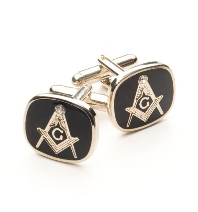 Black Masonic Cufflinks with G and Swarvorski