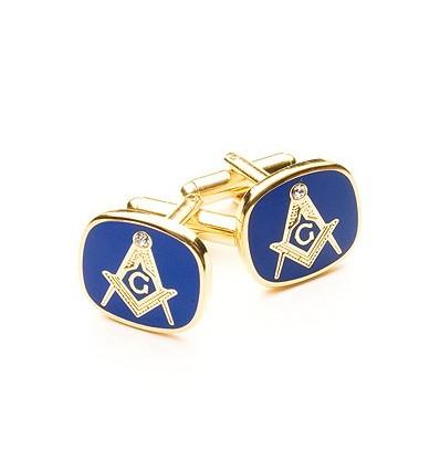 Blue Masonic Cufflinks with G and Swarovski